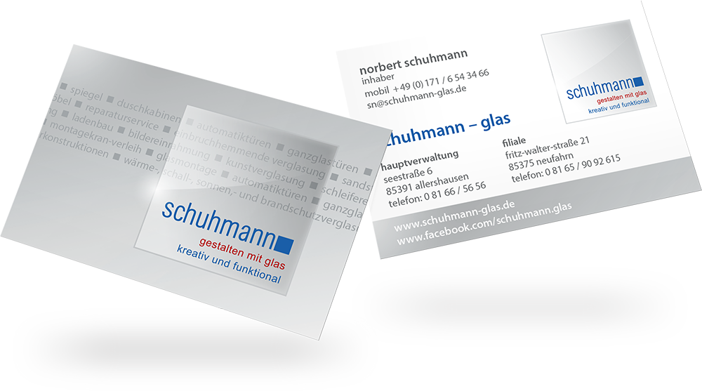 Visitenkarte Schuhmann Glas